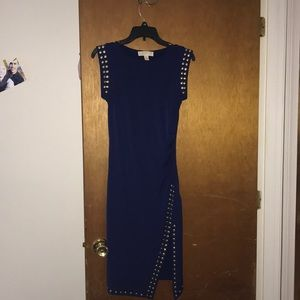 Blue Michael Kors cocktail dress with gold studs